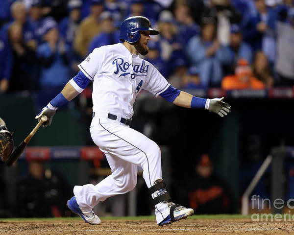 People Poster featuring the photograph Lorenzo Cain, Alex Gordon, and Wei-yin Chen by Ed Zurga