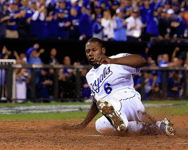 Game Two Poster featuring the photograph Lorenzo Cain and Billy Butler by Elsa