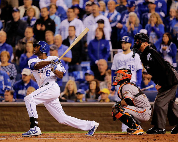 Second Inning Poster featuring the photograph Lorenzo Cain by Doug Pensinger