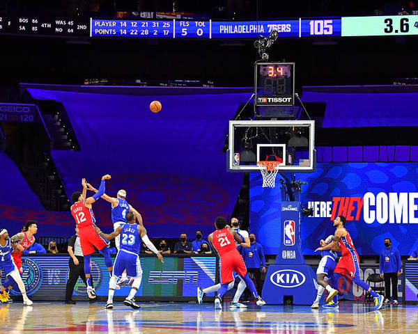 Poster featuring the photograph Los Angeles Lakers v Philadelphia 76ers by Jesse D. Garrabrant