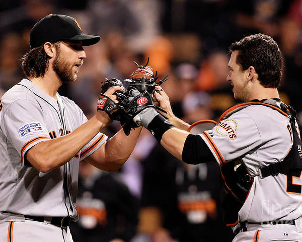 Pnc Park Poster featuring the photograph Madison Bumgarner and Buster Posey by Jason Miller