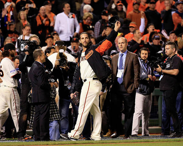 Crowd Poster featuring the photograph Madison Bumgarner by Rob Carr