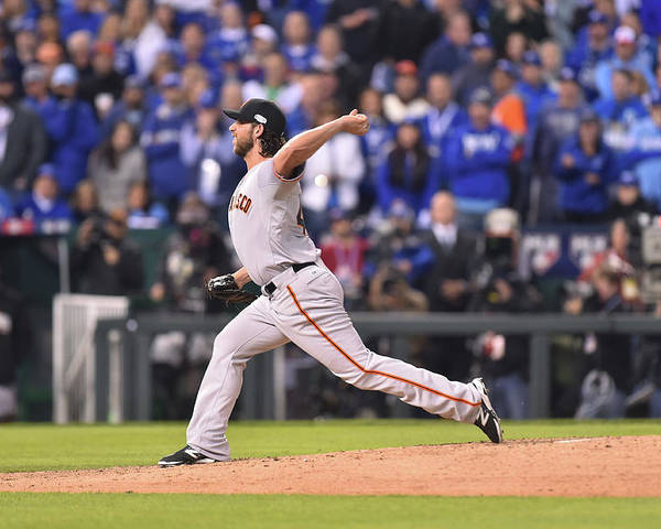 Playoffs Poster featuring the photograph Madison Bumgarner by Rob Tringali