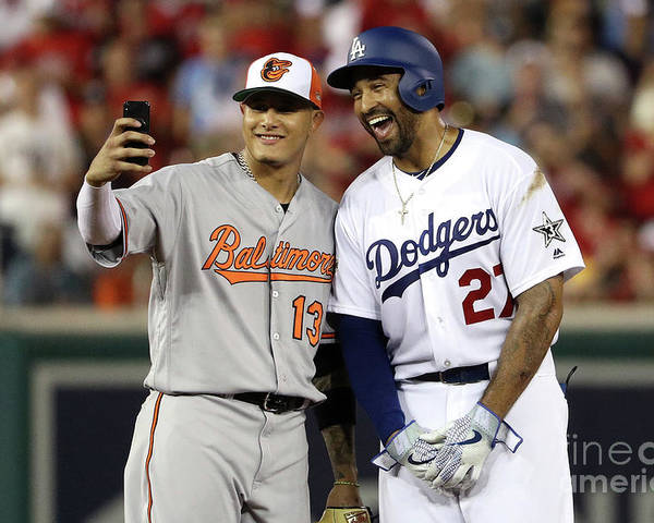 Second Inning Poster featuring the photograph Manny Machado and Matt Kemp by Patrick Smith