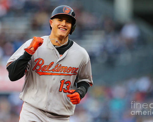 Three Quarter Length Poster featuring the photograph Manny Machado and Matt Wieters by Mike Stobe