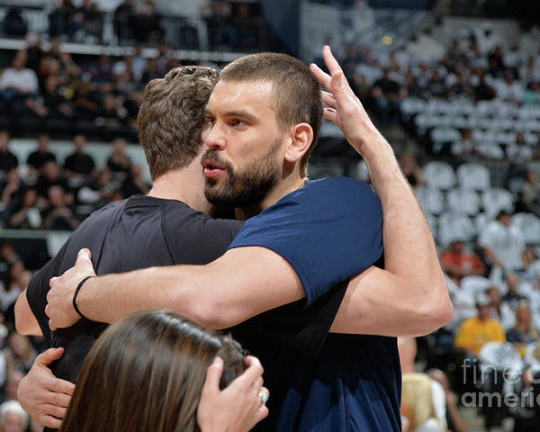 Playoffs Poster featuring the photograph Marc Gasol and Pau Gasol by Mark Sobhani