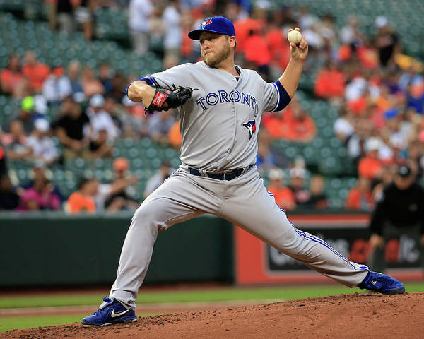 American League Baseball Poster featuring the photograph Mark Buehrle by Rob Carr