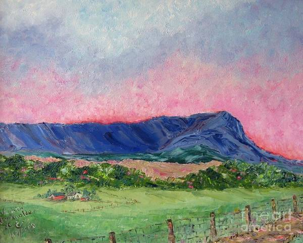 Landscape Poster featuring the painting Massanutten Peak Beyond Dawn - SOLD by Judith Espinoza