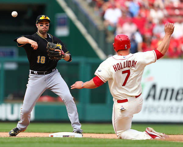 St. Louis Cardinals Poster featuring the photograph Matt Holliday And Neil Walker by Dilip Vishwanat