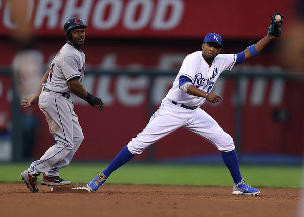 Michael Bourn Poster featuring the photograph Michael Bourn and Alcides Escobar by Ed Zurga