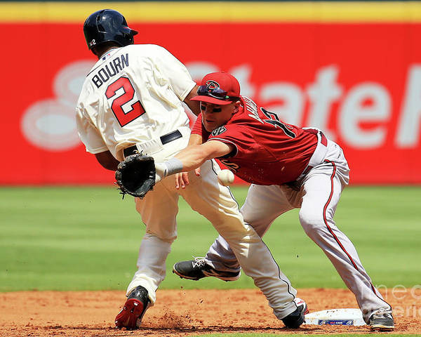 Atlanta Poster featuring the photograph Michael Bourn and Nick Ahmed by Daniel Shirey