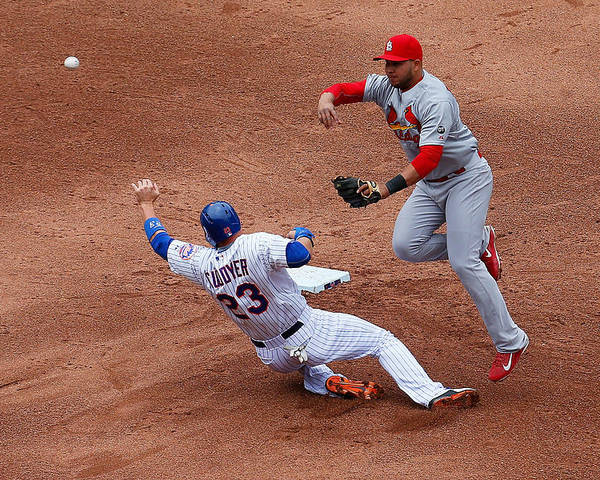 St. Louis Cardinals Poster featuring the photograph Michael Cuddyer and Jhonny Peralta by Mike Stobe