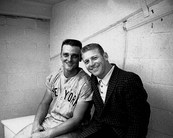 American League Baseball Poster featuring the photograph Mickey Mantle and Roger Maris by Herb Scharfman/sports Imagery