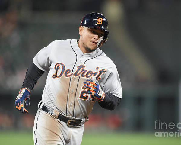 Three Quarter Length Poster featuring the photograph Miguel Cabrera by Mitchell Layton