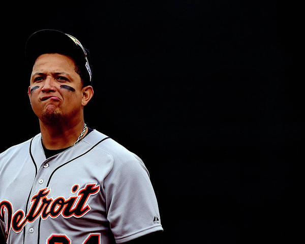 Game Two Poster featuring the photograph Miguel Cabrera by Patrick Smith