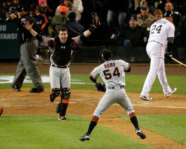 American League Baseball Poster featuring the photograph Miguel Cabrera, Sergio Romo, and Buster Posey by Leon Halip
