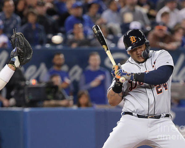 Three Quarter Length Poster featuring the photograph Miguel Cabrera by Tom Szczerbowski
