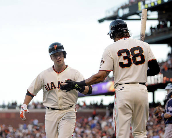 San Francisco Poster featuring the photograph Mike Morse and Buster Posey by Ezra Shaw