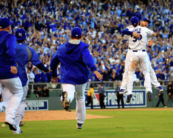 American League Baseball Poster featuring the photograph Mike Moustakas and Eric Hosmer by Jamie Squire