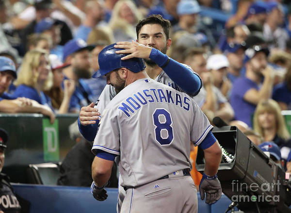 Three Quarter Length Poster featuring the photograph Mike Moustakas and Eric Hosmer by Tom Szczerbowski
