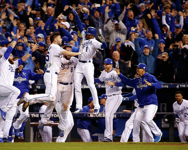 People Poster featuring the photograph Mike Moustakas, Jarrod Dyson, and Eric Hosmer by Sean M. Haffey