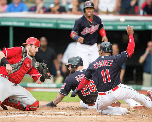 Baseball Catcher Poster featuring the photograph Mike Napoli, Lonnie Chisenhall, and Jett Bandy by Jason Miller