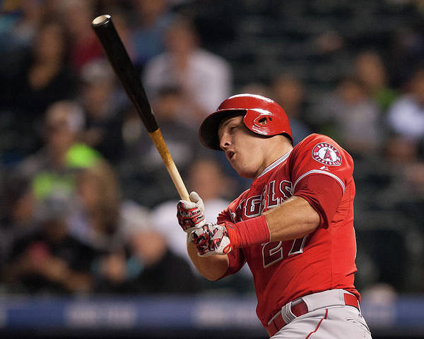 Three Quarter Length Poster featuring the photograph Mike Trout by Dustin Bradford