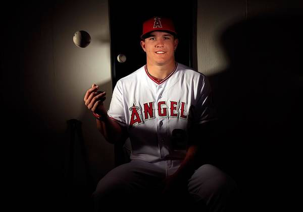 Media Day Poster featuring the photograph Mike Trout by Jamie Squire