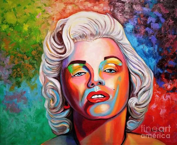Monroe Poster featuring the painting M.Monroe 2 by Jose Manuel Abraham