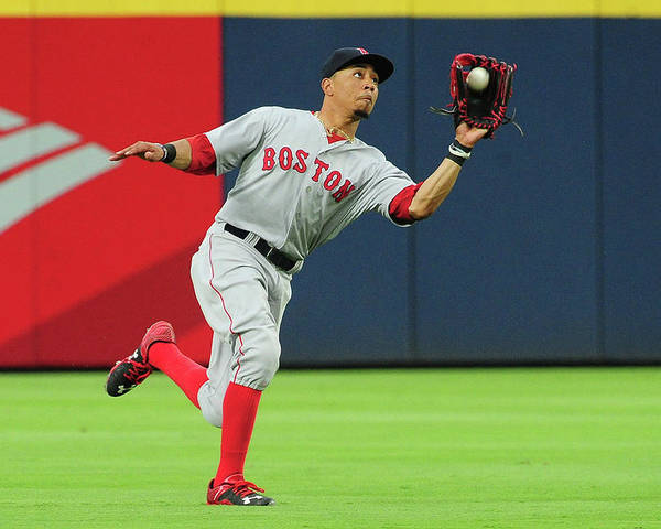 Atlanta Poster featuring the photograph Mookie Betts by Scott Cunningham