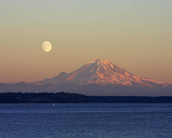 3scape Poster featuring the photograph Moon Over Rainier by Adam Romanowicz