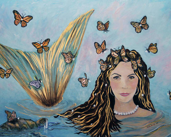Mermaid Poster featuring the painting More Precious Than Gold by Linda Queally