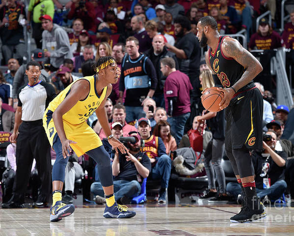 Playoffs Poster featuring the photograph Myles Turner and Lebron James by David Liam Kyle