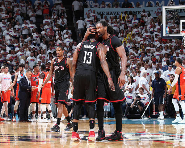 Playoffs Poster featuring the photograph Nene Hilario and James Harden by Nathaniel S. Butler