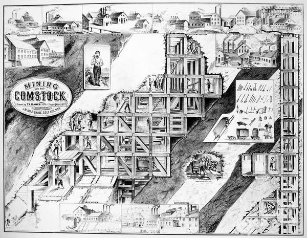 1860 Poster featuring the drawing Comstock Lode, 1859-79 by Granger