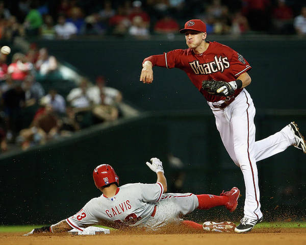 Double Play Poster featuring the photograph Nick Ahmed and Freddy Galvis by Christian Petersen