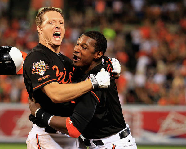 American League Baseball Poster featuring the photograph Nick Hundley and Adam Jones by Rob Carr