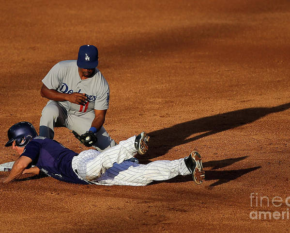 Game Two Poster featuring the photograph Nick Hundley and Jimmy Rollins by Doug Pensinger