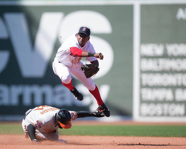 East Poster featuring the photograph Nick Markakis, Jonathan Herrera, and Xander Bogaerts by Rob Tringali