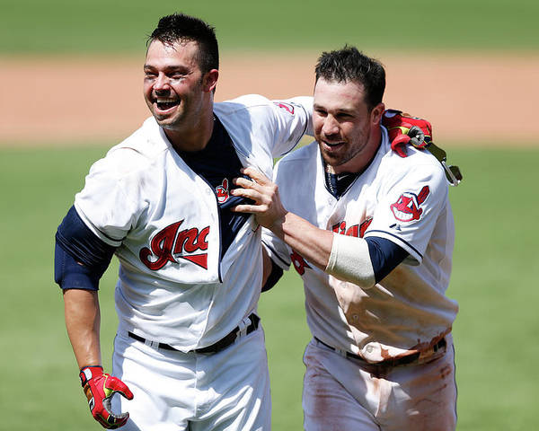 American League Baseball Poster featuring the photograph Nick Swisher and Jason Kipnis by Joe Robbins