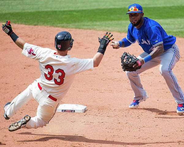 American League Baseball Poster featuring the photograph Nick Swisher, Jose Reyes, and Jason Kipnis by Jason Miller
