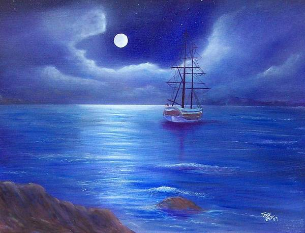 Seascape Poster featuring the painting Night Seascape by Tony Rodriguez
