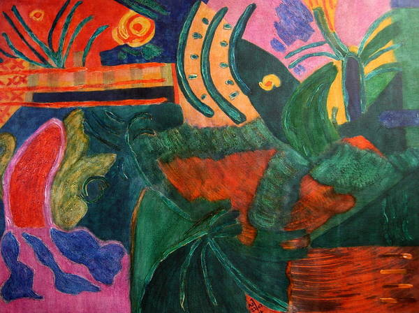 Abstract/landscape; Ink On Stretched Canvas Poster featuring the painting No.321. by Vijayan Kannampilly