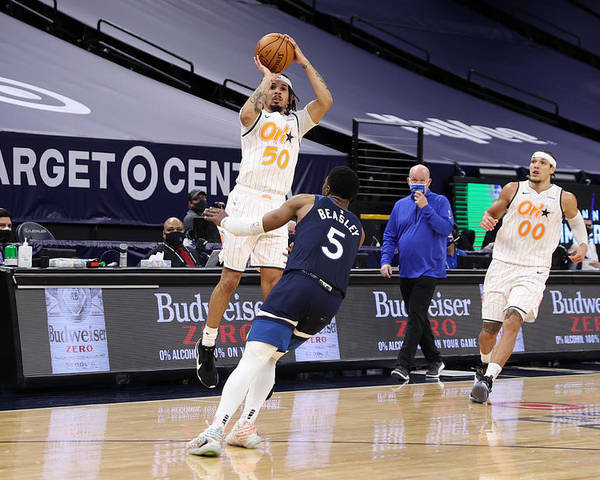 Nba Pro Basketball Poster featuring the photograph Orlando Magic v Minnesota Timberwolves by Jordan Johnson