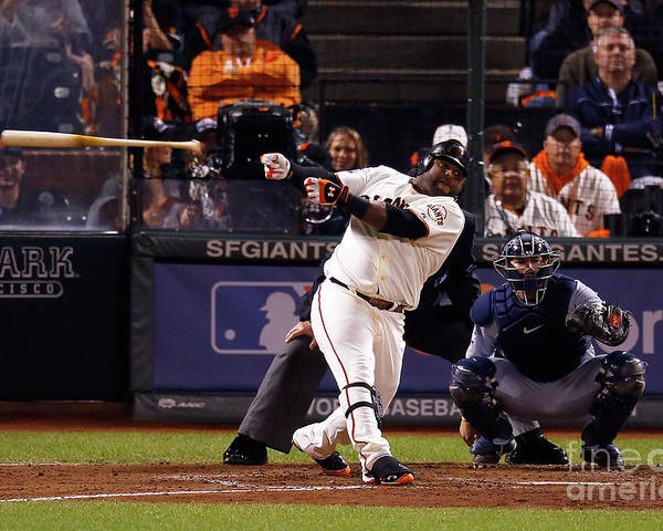 San Francisco Poster featuring the photograph Pablo Sandoval and Al Alburquerque by Jason O. Watson
