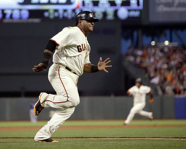 San Francisco Poster featuring the photograph Pablo Sandoval and Brandon Crawford by Ezra Shaw