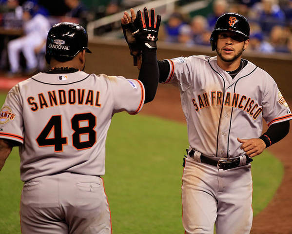 People Poster featuring the photograph Pablo Sandoval and Gregor Blanco by Jamie Squire