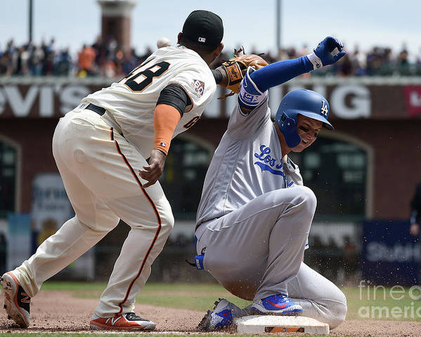 San Francisco Poster featuring the photograph Pablo Sandoval and Joc Pederson by Thearon W. Henderson