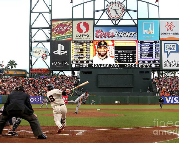 Viewpoint Poster featuring the photograph Pablo Sandoval and Justin Verlander by Ezra Shaw