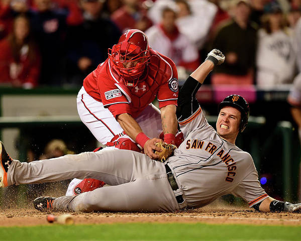 Game Two Poster featuring the photograph Pablo Sandoval, Wilson Ramos, and Buster Posey by Patrick Smith